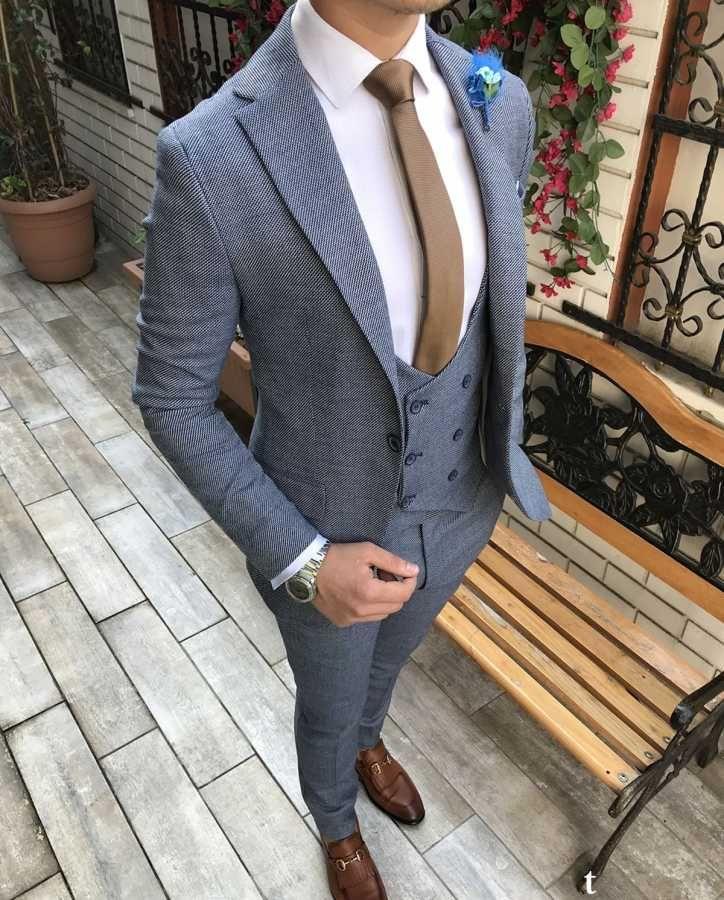 18fbcf6080f11 Terziademaltun - İtalyan stil slim fit ceket yelek pantolon açık mavi takım  elbise T2726