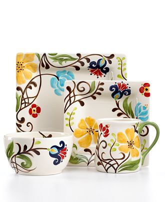 Vida by Espana Dinnerware, Jardine Collection - Macys; Love this collection - prefer round plates, could match what we have and fiestaware