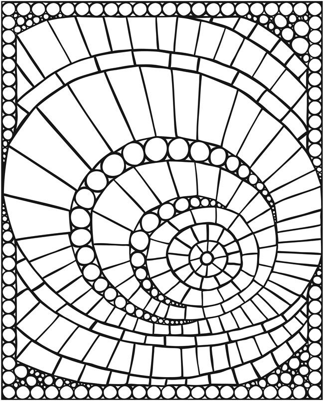 SPARK--Mosaics Coloring Page - (doverpublications)