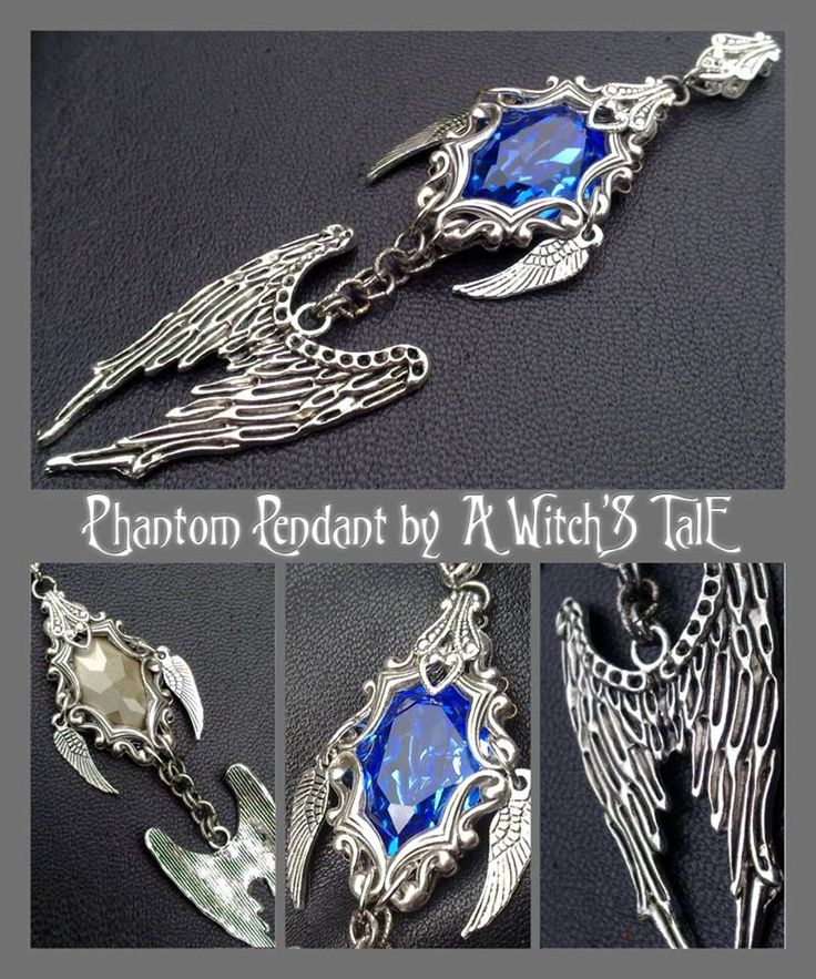 """""""Phantom Pendant"""" by A Witch's Tale Instagram: https://www.instagram.com/awitchstale/   #jewels #phantom #pendant #awitchstale #swarovski #gemstone #craft #witch #amulet #wings #accessory #silver #crystal #gothic #dark #necklace"""