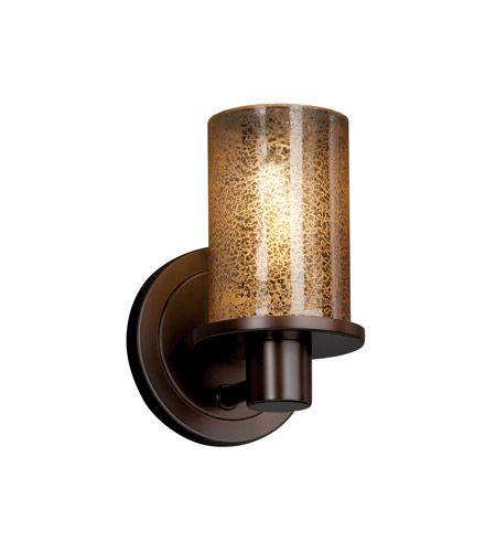 Justice Design FSN-8511-10-MROR-DBRZ Fusion 1 Light 5 inch Dark Bronze Wall Sconce Wall Light in Mercury Glass photo