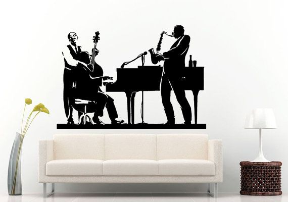Jazz sax saxophone instrument tool band musical genre man band player bass guitar piano wall decal