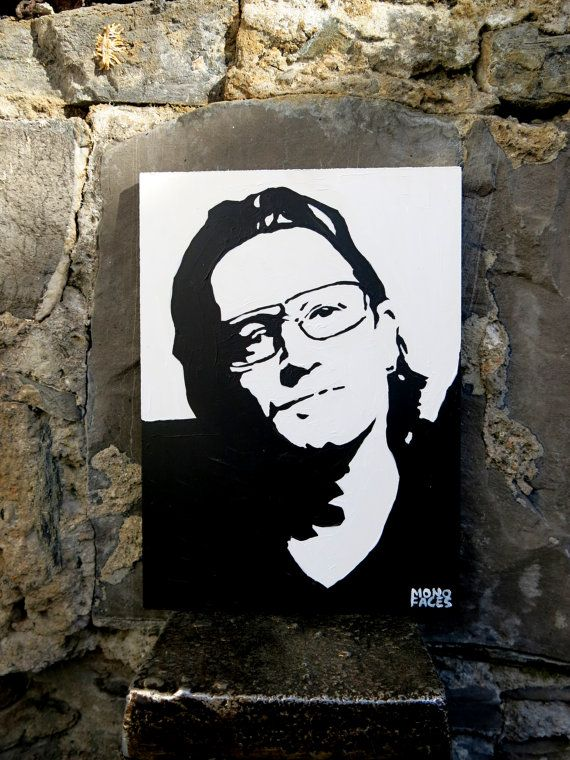 Hand painted acrylic piece of art of Bono. Gesso by MONOFACES, €14.00
