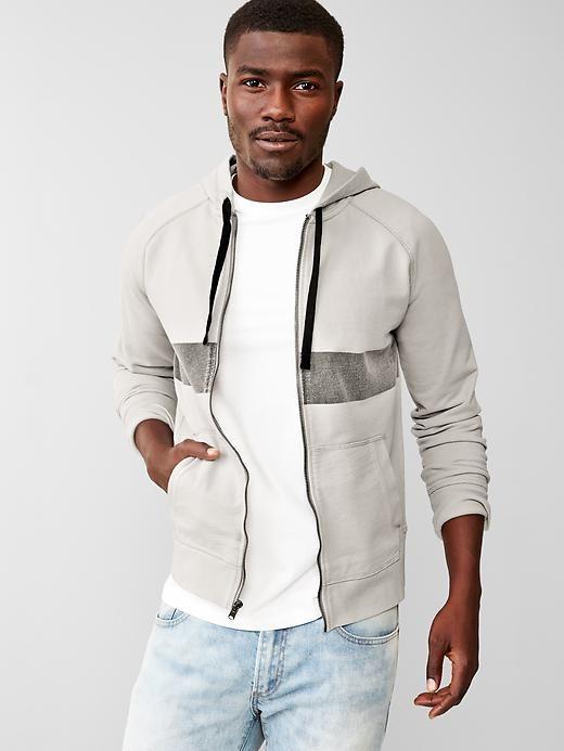 Surf stripe raglan zip hoodie