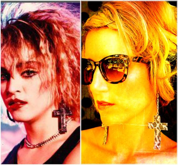 Madonna Costume Cross Crucifix Black and White by darkponydesigns