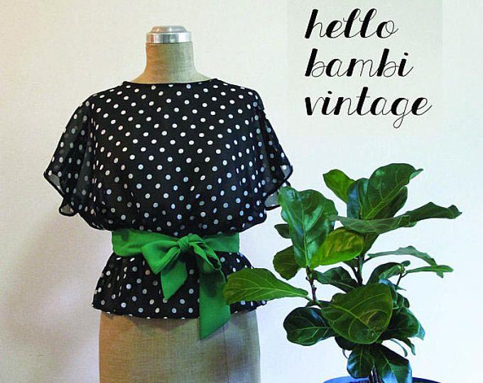 Vintage Black & White Spotty Frilly Top https://www.etsy.com/au/shop/HelloBambiVintage