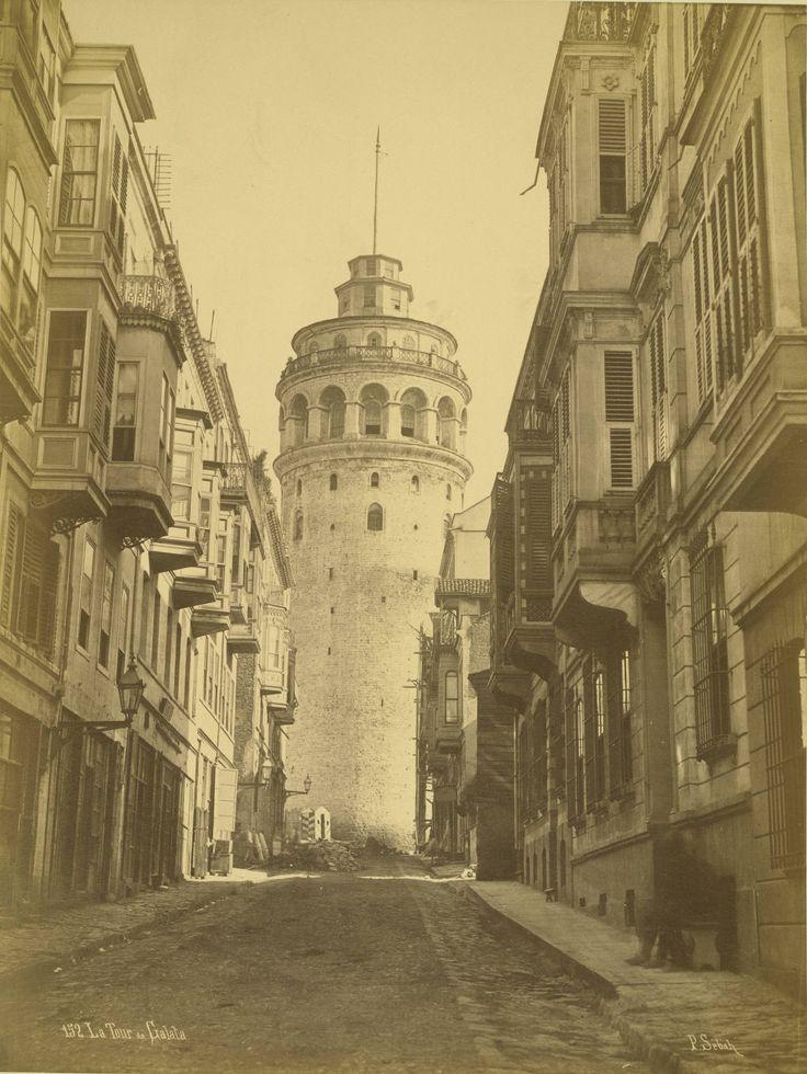Galata Tower in Istanbul between 1865-1895 by Pascal Sebah