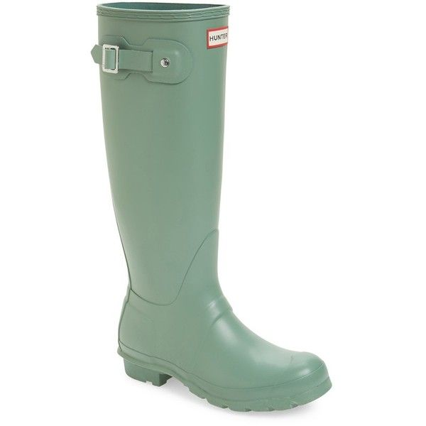 Women's Hunter 'Original Tall' Rain Boot ($150) ❤ liked on Polyvore featuring shoes, boots, succulent green, rain boots, tall knee high boots, wellies boots, green wellington boots and wellington boots