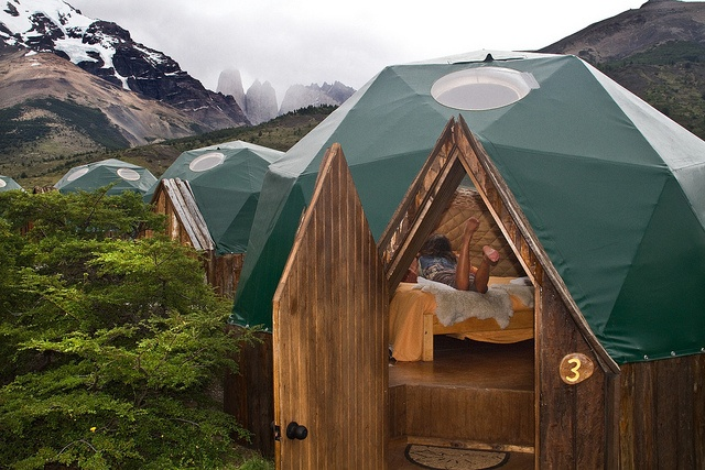 Domes are resistant to the fierce Patagonian wind and have ceiling windows to look up at the stars as you fall asleep.