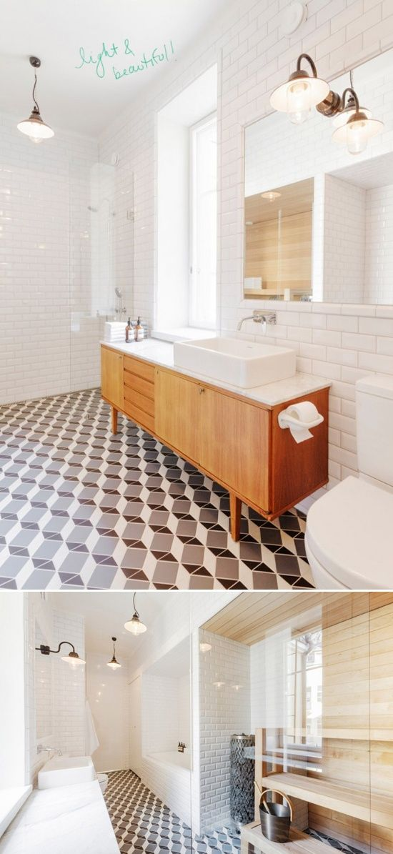 Love the bathroom. But that floor would make an awesome quilt!