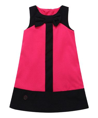 Pink Color Block Wool-Blend Shift Dress