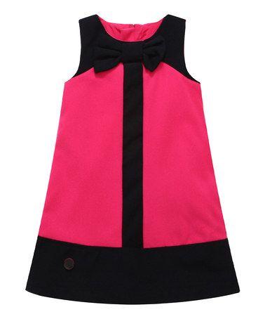 Pink Color Block Wool-Blend Shift Dress