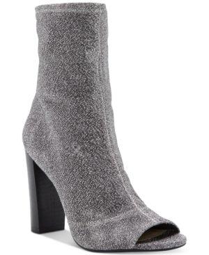 Jessica Simpson Elara Block-Heel Booties - Silver 9.5M