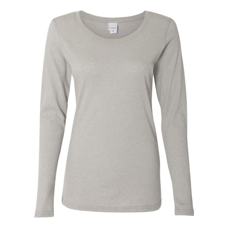J. America Women's Oxford/Silver Glitter Long Sleeve T-Shirt