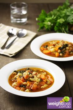 Healthy Soup Recipes: Moroccan Chickpea Soup. #HealthyRecipes #DietRecipes #WeightlossRecipes weightloss.com.au