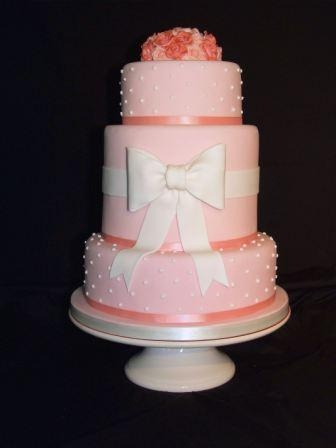 Pink Vintage Polka Dot Bow Wedding Cake