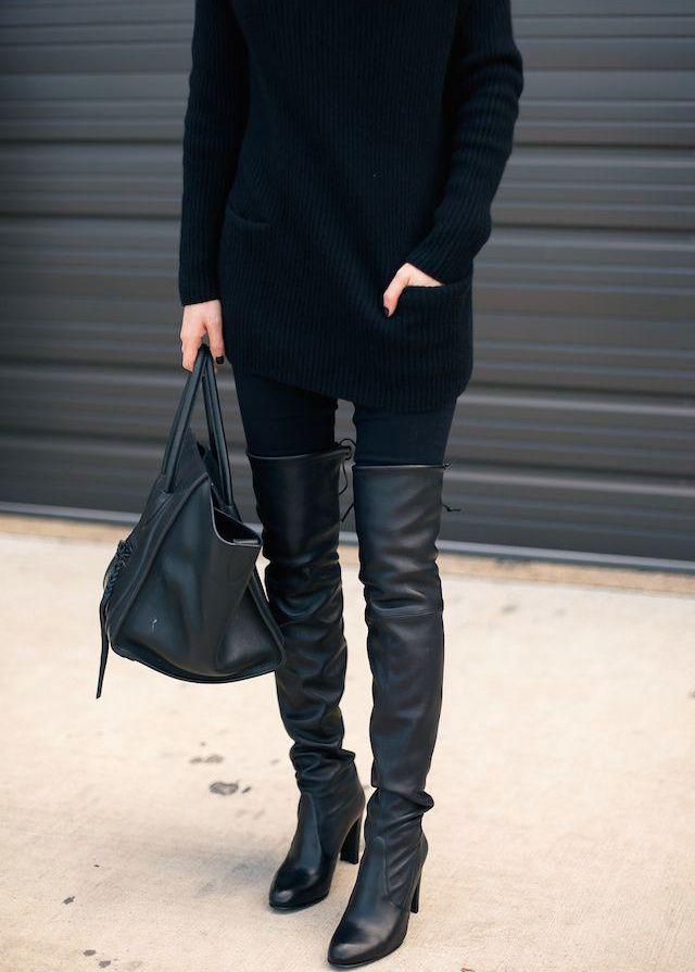 Oui aux cuissardes pour booster un total look noir ! (photo Krystal Schlegel)                                                                                                                                                                                 Plus