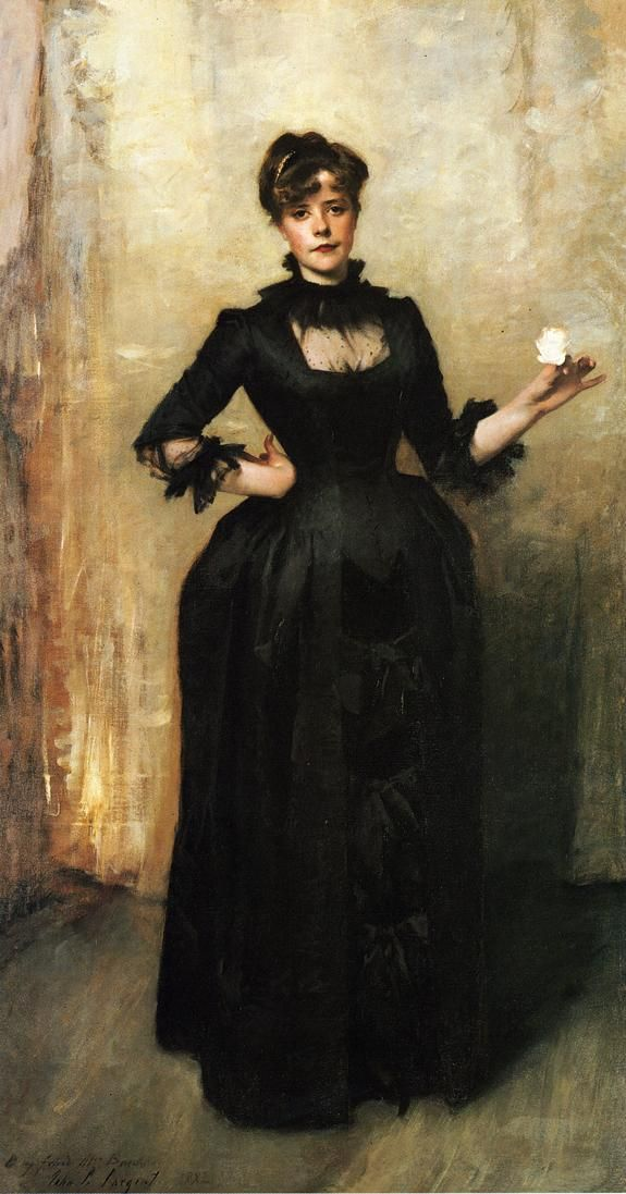 "John Singer Sargent, ""Louise Burckhardt (Lady with a Rose),"" 1882. Oil on Canvas. (My favorite Sargent portrait.)"