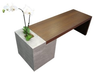 concrete wood bench