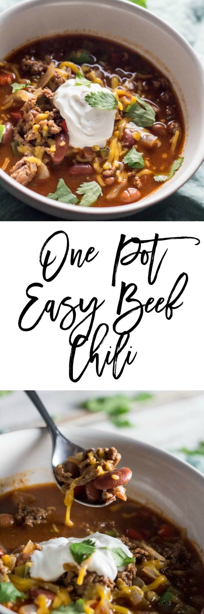 One Pot Easy Beef Chili - A deliciously easy recipe for when you are busy during the weeknights.  It's only 5 SmartPoints per serving on Weight Watchers.