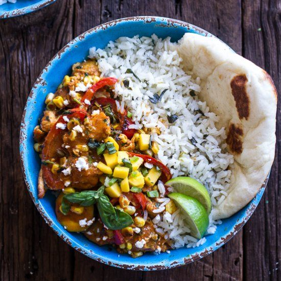 30 Minute Simple Summertime Basil Chicken Curry with Coconut Ginger-Lime Rice. It's healthy summer comfort food!