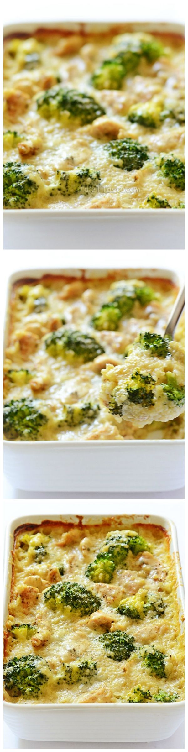 Chicken, Quinoa and Broccoli Casserole: creamy sauce + seasoned chicken breast strips + healthy quinoa and broccoli + melting cheese topping = perfection!