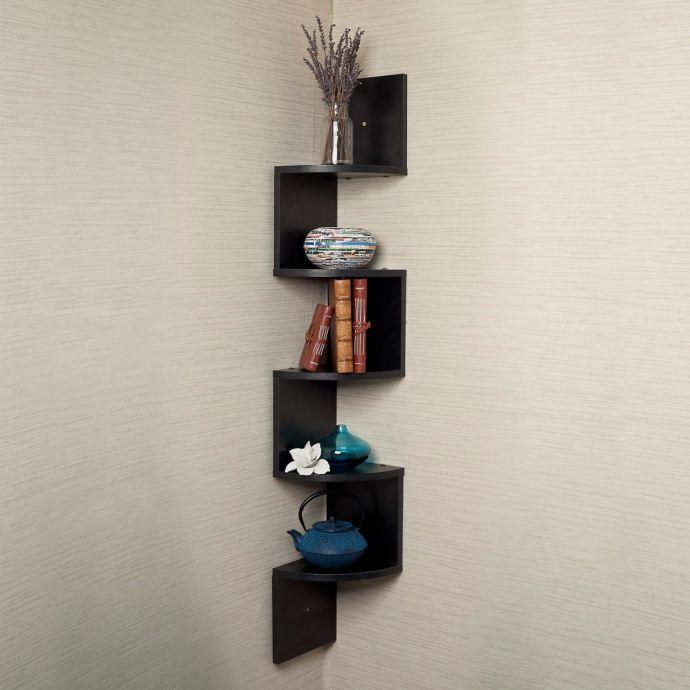 Zig Zag Five Level Corner Wall Mount Shelf With Images Corner Wall Shelves Wall Mounted Shelves Large Corner Shelf