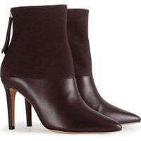 Reiss Genoa - Leather And Suede Ankle Boots in Bordeaux, Womens, Size 3