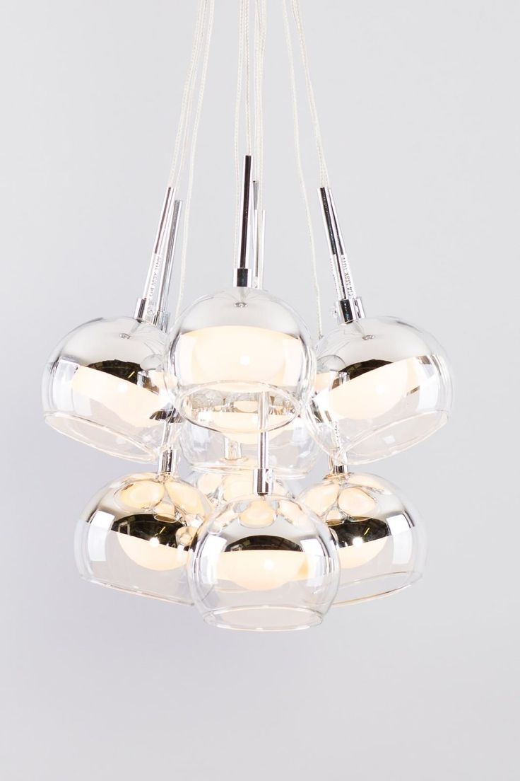 Glass dome contemporary design with chrome effect eleven light pendant light with clear wire ceiling light ideal for living room, kids room, dining room, reception, cafe or bar: Amazon.co.uk: Lighting