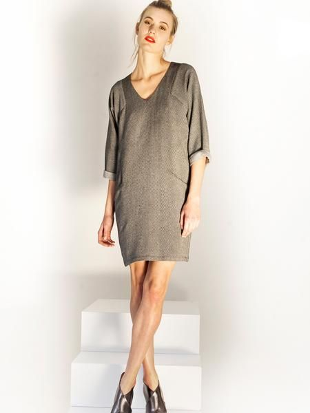 Grey autumn comfy mini dress