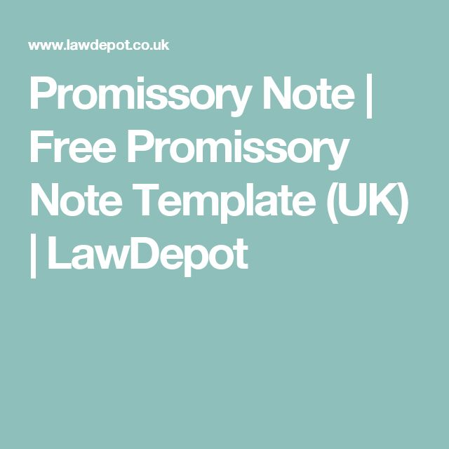 Promissory Note | Free Promissory Note Template (UK) | LawDepot  Note Payable Template