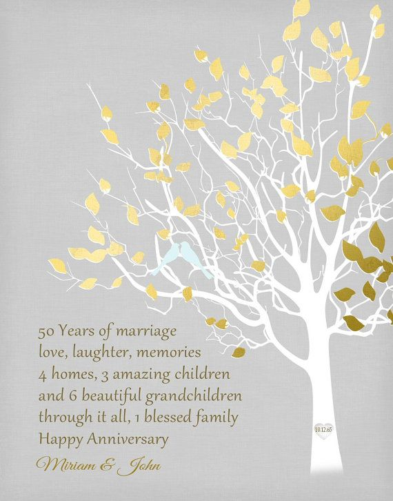 50 Years Married Gifts Part - 46: Items Similar To Personalized Anniversary Gift Golden Anniversary Family  Tree Print Gift For Parents Custom Faux Gold Keepsake Gift Important Dates  Gray On ...