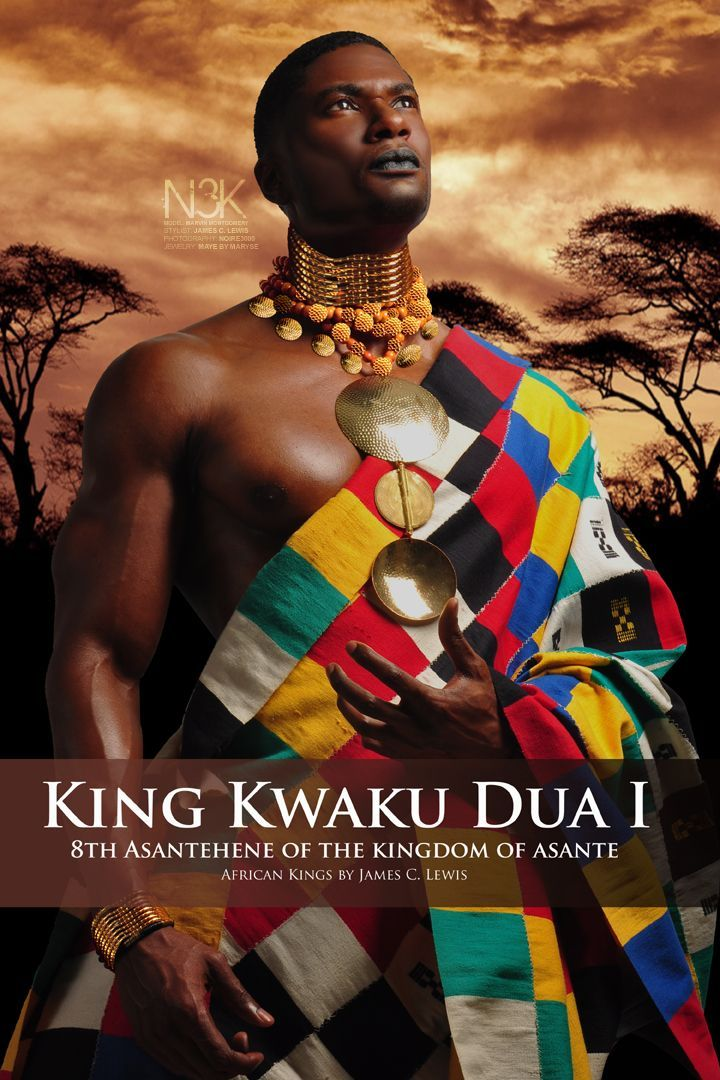 AFRICAN KINGS by International Photographer James C. Lewis | Kwaku Dua I (1797 – 1867), was the eighth Asantehene of the Kingdom of Asante (King of the Asante). In 1834, King or Asantehene Kwaku Dua I of the Kingdom of Asante succeeded Osei Yaw Akoto to throne as the King of Asante. On 18 March 1837, Asantehene Kwaku Dua I of the Kingdom of Asante signed a contract between him and King William I of the Netherlands. | Model: Marvin Montgomery | Wardrobe & Jewelry: Maryse M'bo Ako |