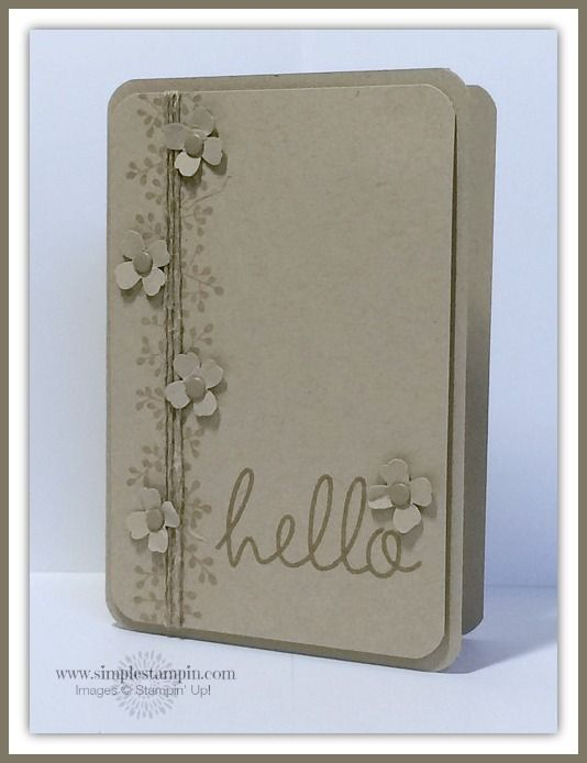 Stampin' Up! ... handmade card ... monochromatic gray ... clean and simple design ... big stamped HELLO ... little punched flowers with candy dot centers ... triple twine strands with stamped little leafy tendrils ... luv it!