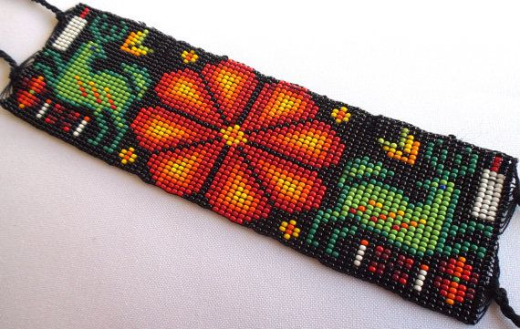 Mexican Huichol Loom Beaded Deer and Peyote Bracelet by Aramara