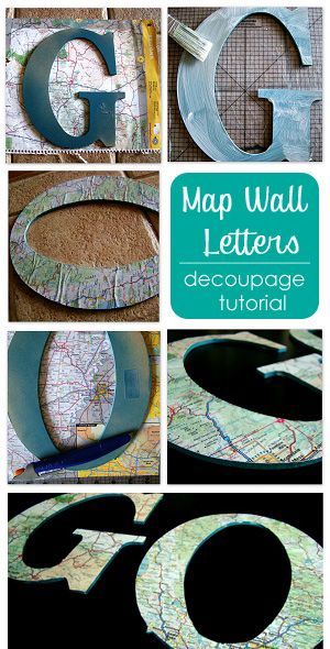 Decoupage Map Wall Letters