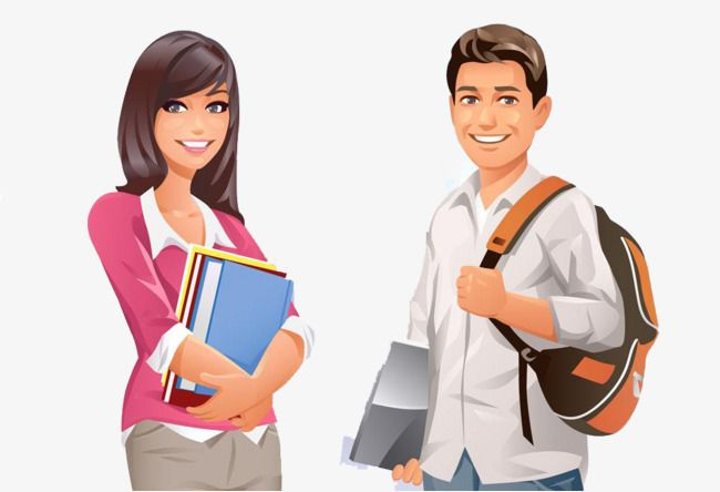 Male And Female Cartoon College Students Png And Clipart Student Cartoon College Students Female Cartoon