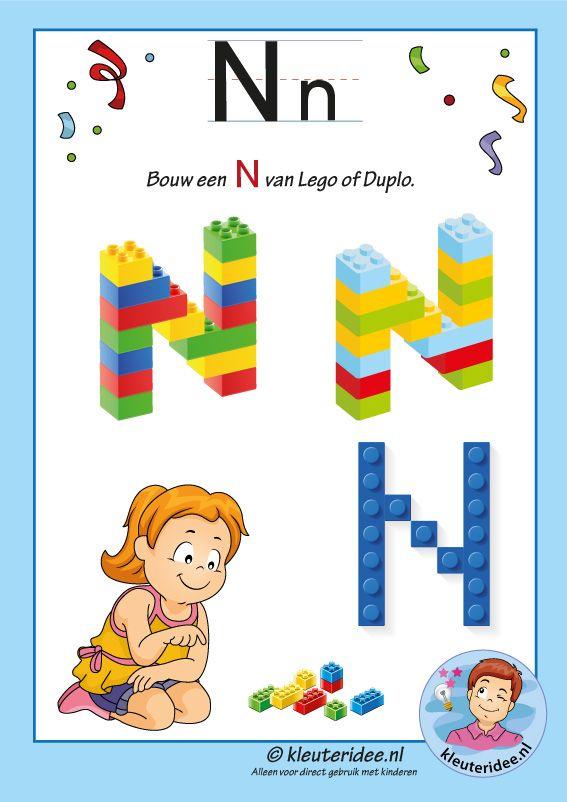 Pakket over de letter N blad 16, maak een N van lego of duplo, kleuteridee, free printable