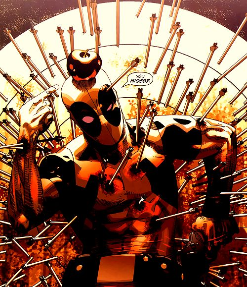 Favorite image of Deadpool. Ever.<< Dude you missed the apple -./ mann someone tell Hawkeye cos we all know that shot was easy