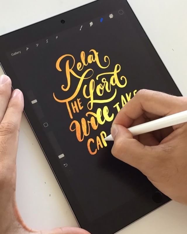 IPad Pro With Apple Pencil On Procreate App Gold Foil Texture Layer Covered Black And Used An Erasor To