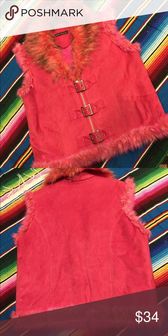 HOT Pink Suede Vest  Hot pink, suede vest with hot pink fur collar and trim. No tears, stains or damage. Got compliments EVERY time I wore it! Looks great with a long sleeve or short sleeve top and paired with some distressed jeans. Smoke free home. Mechant Jackets & Coats Vests