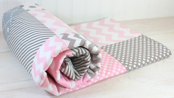 Simple pink and gray quilt for nursery