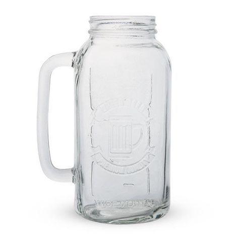 Mason Jar Beer Stein - 2 Liters - Large/Big Drinkware - Bar/Pub Mug Novelty Gift