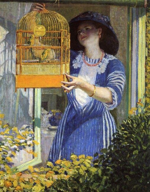 Dipinto di Frederick Carl Frieseke | Frederick Carl Frieseke >> l'aperto finestra ( `Aka` l'uccello gabbia ...