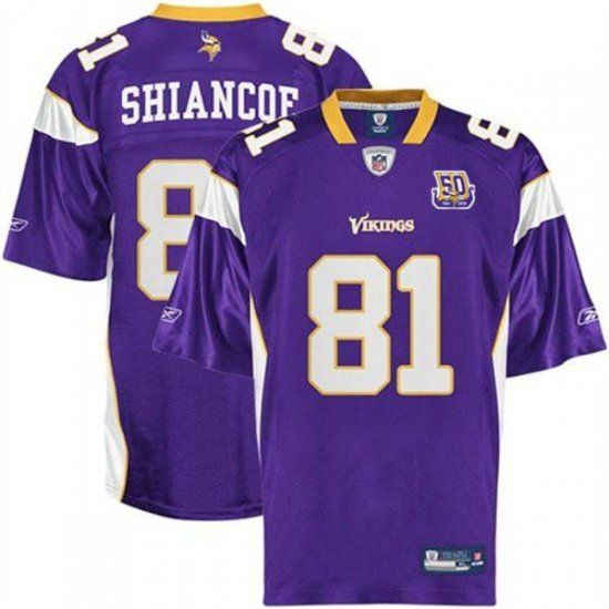vikings 81 visanthe shiancoe purple with team 50th patch stitched nfl jersey