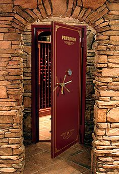 "Wine ""Vault"" Door..great idea to protect the ""goods""!"