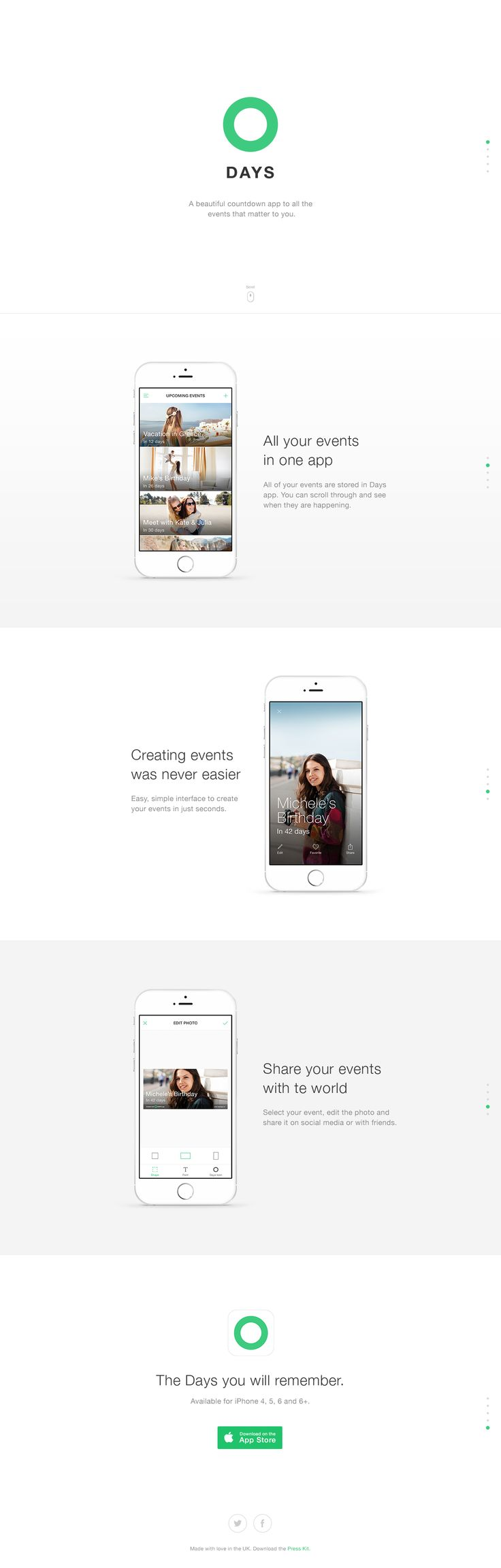"""Responsive One Pager with good whitespace for 'Days' - a new event countdown/management app. We get loads of app submissions and the ones that have demo's within the devices really stand out. Their """"creating events"""" demo is actually beautifully done."""