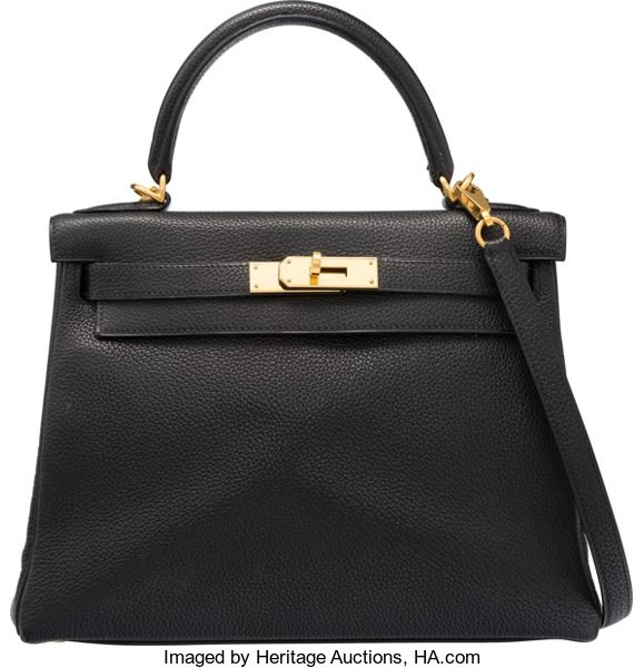 """Hermes 28cm Black Togo leather Retourne Kelly Bag with GoldHardware. H Square, 2004. Very Good Condition. 11"""" Width x 8""""..."""