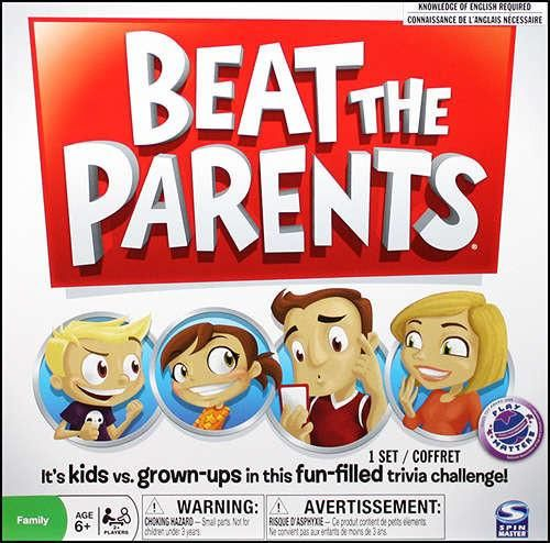 """It's kids vs. grown-ups in a head-to-head family trivia challenge! Do parents really know everything, or do kids call the shots? Prove who's the boss in the game where the adults answer questions about kids' stuff, and the kids answer questions their parents should really know. Beat the Parents lets each side show what they know about the """"other generation""""! It's family friendly fun for 2 or more players, ages 6 and up."""