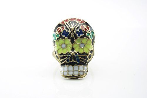 Adjustable Sugar Skull Ring - Black Enamel with Colorful Flower Pattern DaisyJewel. $7.99. Search DaisyJewel for more great gems!. Makes a Great Gift and a Terrific Treat for Yourself!. Adjustable Ring Base - One Size Fits Most. Intriguing Black Enamel Sugar Skull Ring Face with Colorful Flower Pattern. Save 60%!